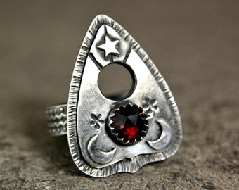 Planchette Ring, Witchy Style Sterling Silver Jewelry, Unique Garnet Statement Ring, Handmade Metalwork Ring