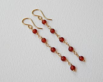 Carnelian Earrings - Gold Filled Long Beaded Earrings Beadwork Earrings Rosary earrings Carnelian Beads Rosary Chain