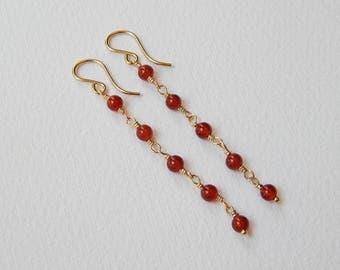 Carnelian Earrings - Gold Filled Long Beaded Earrings Beadwork Earrings Rosary earrings Carnelian Beads Rosary Chain