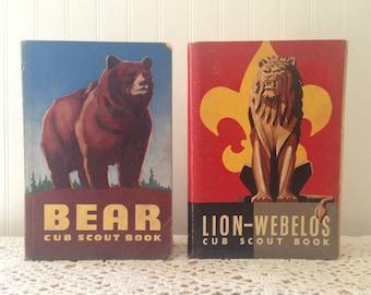2 Vintage Cub Scout Books (c) 1954. Bear Cub Scout Book and Lion-Webelos Cub Scout Book. Boy Scouts of America. Mid century nostalgia.