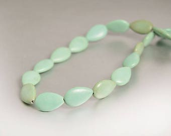 Mint Green Turquoise Beads, 24pcs, Turquoise Teardrop Briolette Bead, 16mm x 10mm, Full Strand