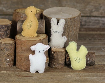 handmade wool felt pocket pals: duck, rabbit, sheep and hen by kata golda
