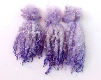 Leicester lilac purple long wool locks 8-10 in in Doll Hair - santa beard, Blythe Doll Hair, Art Dolls, spinning and f