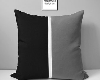Black & Grey Pillow Cover, Modern Outdoor Pillow Case, Decorative Throw Pillow Cover, White Gray Color Block Sunbrella Pillow Cushion Cover