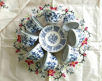Beautiful Blue Transferware Tea Cup and Saucers Set of Six Mismatched Tea Cups and Six Saucers