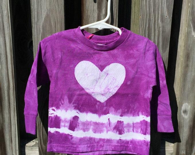 Girls Long Sleeve Shirt, Girls Heart Shirt, Purple Heart Shirt, Purple Girls Shirt, Tie Dye Shirt, Purple Kids Shirt (18 months)