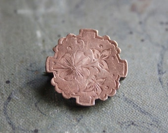 Tiny Victorian Brooch, Aesthetic, Antique Pin, Etched Flowers, Rose Gold Fill, Sweet Gift For Her, one Of A Kind Little Something, Under 20