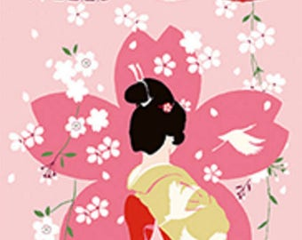Japanese Tenugui Cotton Towel Fabric, Hand Dyed Fabric, Kimono, Geisha Girl, Maiko, Sakura, Cherry Blossom Flower, Wall Hanging, Scarf, h576