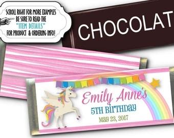 12 Candy Bar Wrappers, Party Favors, Unicorn, Rainbow, Pastel Colors, Pink Stripes, Baby Shower, Birthday Party