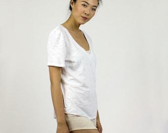 White organic cotton Boyfriend fit Vneck tshirt / Eco Bamboo basic tee / Moss Green, Black, White, Navy