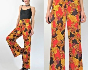 60s 70s Paisley Wide Leg Pants Psychedelic Hippie Floral Print Pants Vintage Bell Bottoms Red Gold High Waist Palazzo Pants (S) E6066