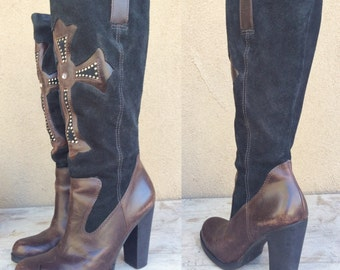 1990s Women size 7.5 MIA tall high heel black suede brown leather boots with studded cross