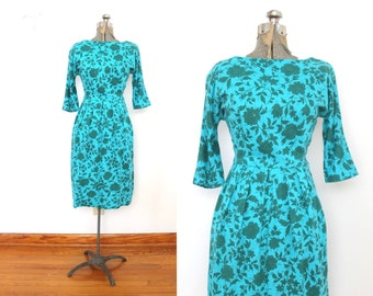 1950s Floral Wiggle Dress / 50s Turquoise Rhinestone Wiggle Dress