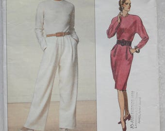 "Sz 6-8-10 Vogue American Designer Sewing Pattern 2368  Geoffrey Beene Jumpsuit and Dress  Bust 30.5"" - 32"""
