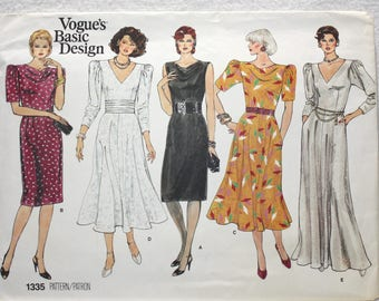 """Size 12-14-16 bust 34""""-38""""  Vogue Basic Design Sewing Pattern 1335 80s Dress with Pleats or Flared Skirt Day or Evening"""