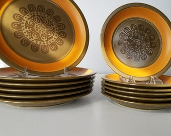 Orange and Brown Vintage Stoneware Dinner and Salad Plates - 12 Peices/ 6 of Each