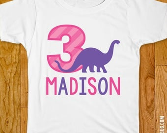 Pink Dinosaur Party Iron-On Shirt Design - Choose child or onesie size