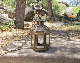 """Vintage Brass Hanging Electric Lantern Pendant Light w/Scalloped Edges ~ Cottage Style ~ 12"""" Tall x 7"""" wide ~Soldered Corners~Fixture Style~"""