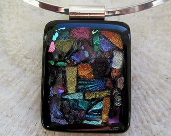 Multicolor dichroic mosaic fused glass statement necklace