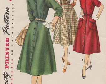 Simplicity 1319 / Vintage 50s Sewing Pattern / Dress / Size 14 Bust 32