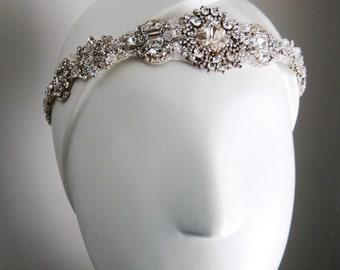 Ready to ship Wedding bridal headpiece crystal headband headpiece satin ribbon vintage inspired art deco style