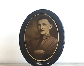 Antique Medallion Photo Celluloid Mounted on Tin Free Standing Oval Easel Stand Gentleman