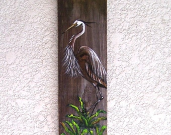 Great Blue Heron Hand Painted on Reclaimed Fence Board  Wood Plaque