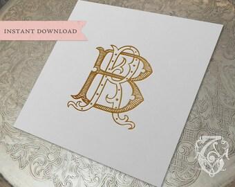 Vintage Wedding Monogram RB BR Digital Download B R