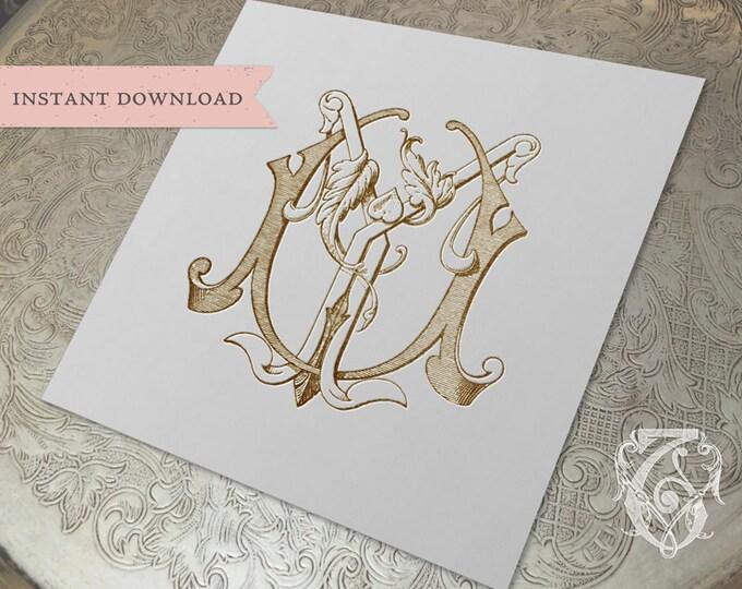 Vintage Wedding Monogram UY YU Digital Download Y U