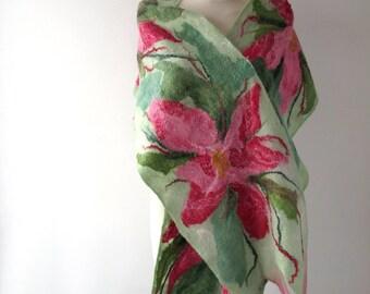 Felted scarf, Wool felt scarf, Nuno felted  shawl, Pink white green Wool scarf, Floral shawl pink flower nuno felted scarfby Galafilc