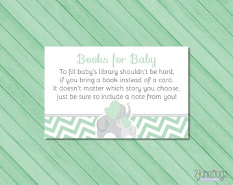 Elephant Baby Shower Book Request Card, Bring a Book Instead of a Card, Mint Green and Gray Chevron - PRINTABLE INSTANT DOWNlOAD
