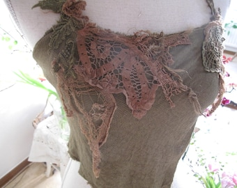 Green forest elven top,  fractal wings festival clothing