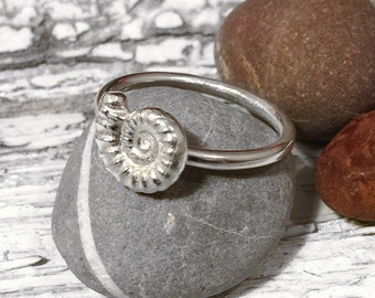 Silver Ammonite Fossil ring, silver ring, fossil ring, ammonite ring