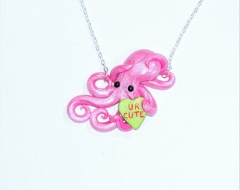 Valentine's day octopus necklace. conversation heart, candy necklace. galentine's, palentine's. gift. pink