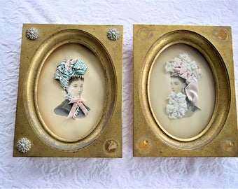 Antique SILK RIBBON PICTURE Lady Godey Print Rose Pink Plaques Velvet Bow Silhouette Woman Women 1920 Lace Trim Victorian Ladies Wall Hanger