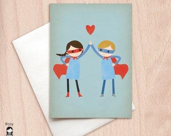 Super High Five - Couple - Valentine, Boyfriend Girlfriend, BFF Best Friends Greeting Card