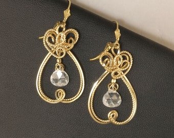 Cubic Zirconia Gold Dangle Earrings, Elegant 14k Gold Filled Wire Sculpture Cubic Zirconia Leverback Earrings, Gold Party Earrings