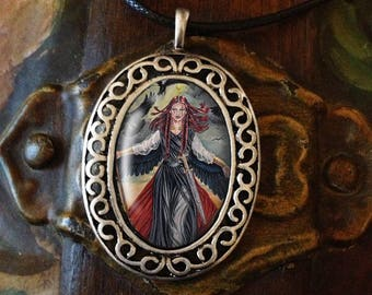 Porcelain Cameo Style Pendant, The Morrigan Art and Free Cordc