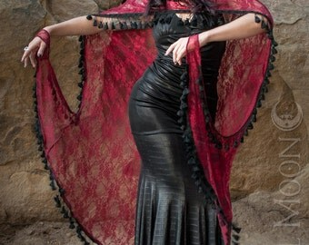 """Specialty: The """"Art Deco"""" Hooded Red Lace Cape with Black Tassel Trim by Opal Moon Designs (Size XS-XXL)"""