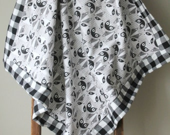 Modern Flannel Blanket, Foxes, Cats, Receiving Blanket, Baby Blanket, Plaid, Flannel Receiving Blanket, Baby Girl, Baby Boy, Handmade
