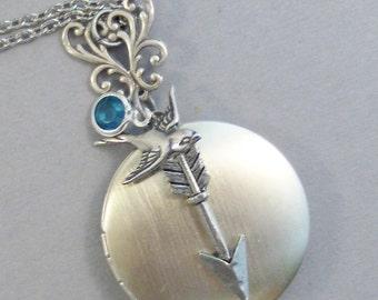 Romantic Arrow,Arrow Locket,Arrow Necklace,Bird Neclace,Bird Locket,BirdBirthstone Locket,Birthstone Necklace,silver Locket,Valleygirldesign