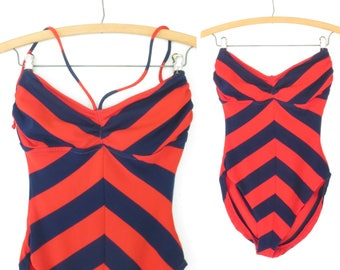 70s Swimsuit * Vintage 1970s Maillot * Open Back Chevron Bathing Suit * Small - Medium