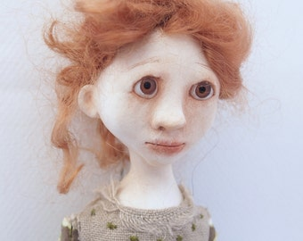 Art doll cloth clay wood bead jointed stick limbs hand sewn red hair