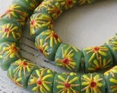 Recycled Glass Beads From Ghana Africa - African Glass Beads - Green with Yellow Flowers