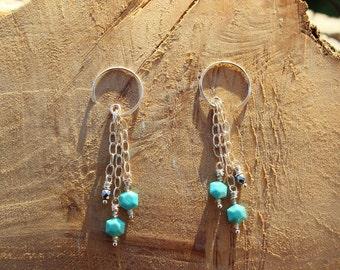 Handmade Turquoise & Hematite Earrings, Boho Urban Chic Long Dangle Turquoise Earrings, Handcrafted Artisan Sterling Silver Earrings
