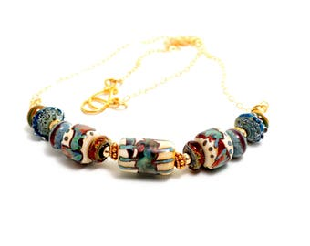 Lampwork Bead Pendant Necklace. Exquisite Tribal Necklace. Artisan Glass Bead Necklace. Gifts For Women. Lampwork Jewelry.
