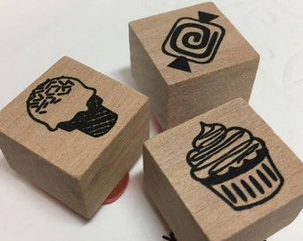 1 Mini Candy Sweet Stamp,Mini Cupcake Stamp,Ice Cream Cone Stamp,Sweets Stamp,Candy Lover Gift Ideas,Candy Wrapper Stamp,Candy Craft Ideas