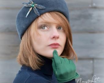 Blue Dragonfly Hat, Beret Hat, Cuff Hat, Felt hat