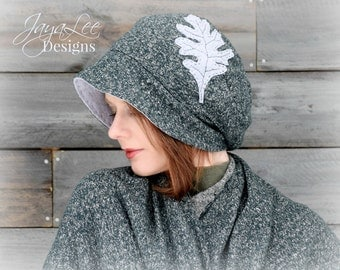 Forest Green Oak Leaf Slouchy Beanie Hat Organic Cotton and Recycled T-shirt Hat