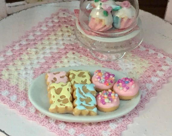 Miniature Cookies, Frosted Cookies, Cookie Platter, Style 1, Dollhouse Miniatures, 1:12 Scale, Mini Food, Sweets